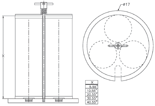 Elevation drawing of an adapter kit for 16