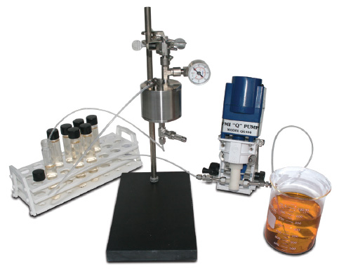Lab cartridge can be operated with pump (as shown) or small pressure vessel
