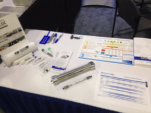 SiliCycle products on display: SiliaChrom HPLC columns, SiliaQuick QuEChERS, SiliaSep Flash Cartridges, SiliaPrep SPE...