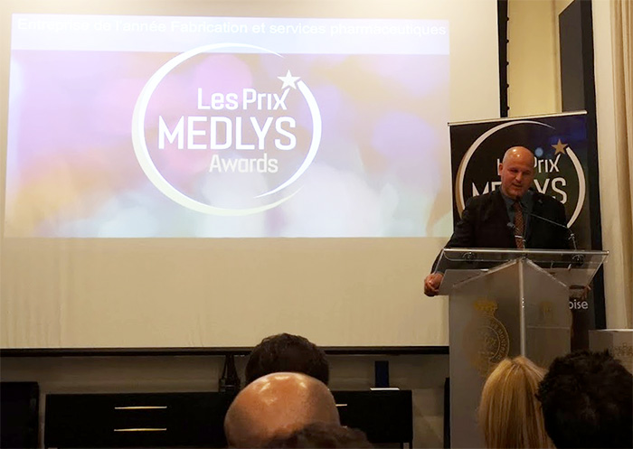 Hugo St-Laurent, CEO, SiliCycle, at Medlys Awards 2018