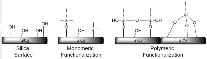 For the octadecylsilane stationary phase, SiliCycle proposes two different bonding types: the monomeric and the polymeric functionalized C18: discover which one matches your needs