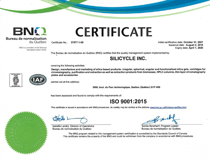 SiliCycle is registered to the ISO 9001:2015 standard of quality